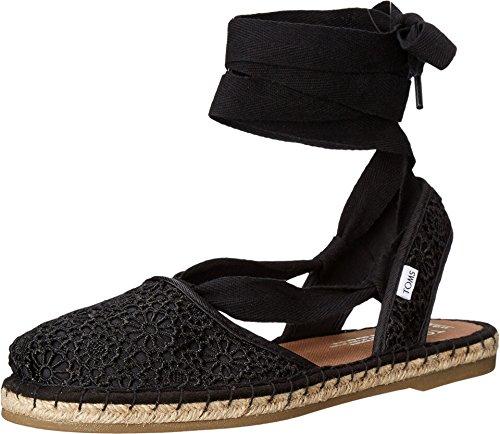 TOMS Women's Clarissa Wedges Sandal Black Moroccan Crochet Size 8 B(M) US - Crochet Espadrille Wedge