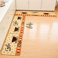 Cuteshower Non-Slip Kitchen Rugs Rubber Backing Doormat Runner Mat Set (1 pc 20x47 inch + 1pc 20x31 inch, Coffee)