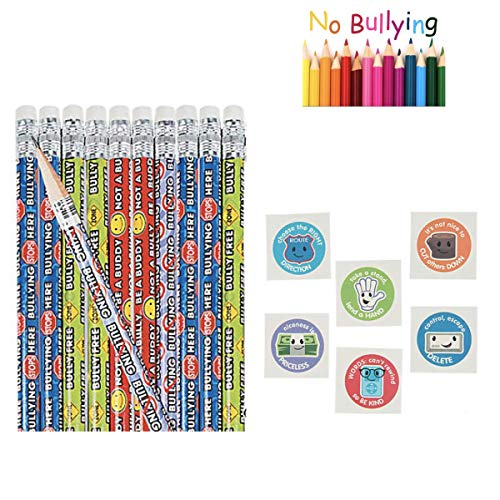 120 Anti- Bullying 24 Pencils - 24 Stickers & 72 Tattoos - Do Not Bully Teacher Day Care Preschool - Classroom Give-aways Prizes VBS Religious Education Kindness Positive Messages