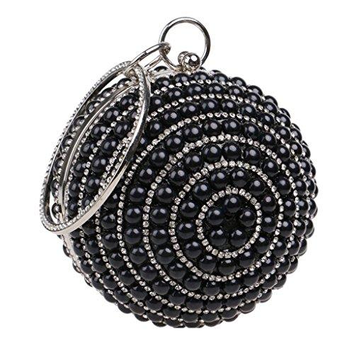 Glitter Pearl Evening Bag Party For Wedding Shoulder Clubs Handbag Bridal Purse Clutch Women Bag Diamante Prom Gift Ladies Spherical Black gwAqXRA