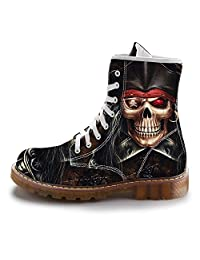 FIRST DANCE Fashion Mens Skull Boots Martins Shoes for Men Skeleton Print Black Ankle Men Black Shoes