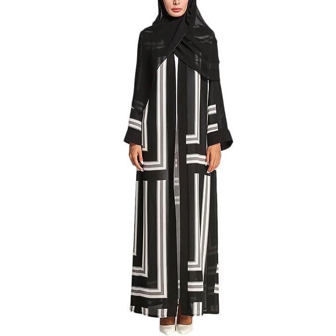 Zhhlaixing Calidad Color de Golpe Cárdigan Musulmanes De las Mujeres árabe Islámico Turquía Togas Maxi Abaya Vestido Muslims Dresses Vestidos: Amazon.es: ...