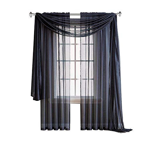 (Warm Home Designs Pair of Premium Quality 54 x 84 Inch Sheer NavyBlue Faux-Linen Rod Pocket Curtains. Total Width of These Affordable Drape Panels is 108