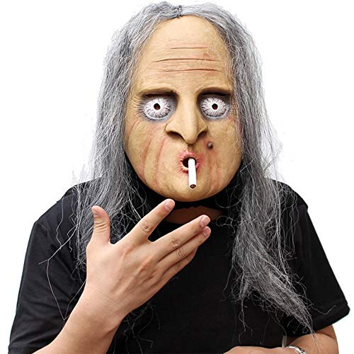 Old Woman with Hair Halloween Creepy Mask Haunted House Prop Scary Zombie Face Trick Cosplay Fun Game Black