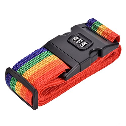 Gurlleu Luggage Strap, Adjustable Straps Extra Long Suitcase Belt with Security Lock (Rainbow) - Locking Luggage Strap