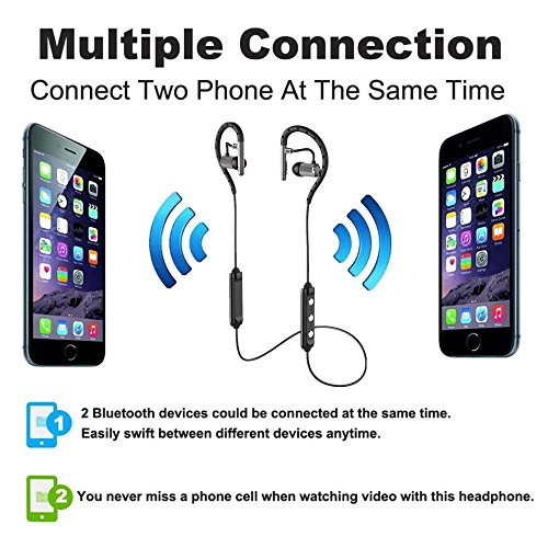 for iPhone 7 Plus Wireless Headphone Bluetooth,MeiLiio Bluetooth 4.1 Sports Handsfree Earphone with Mic Anti-Sweat Earbuds Stereo Headset for IOS Apple iPhone & Android Samsung Tab etc (Grey)