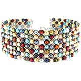 D'AMA 7 strand Womens Freshwater Cultured Pearl Choker Necklace Stainless Steel