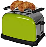 TKG TKG TO 1008 AG Design Stainless Steel Two Slice Toaster with Extra-Wide Slots, 37 mm, 950 W, Green