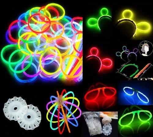 """200 8"""" glow stick bracelets,mixed colors,200bracelet necklace connectors,5 pairs of glow glasses connectors,1 glow..."""