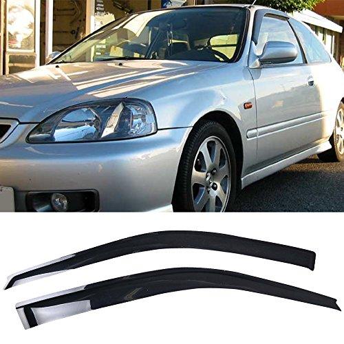 Window Visor Fits 1996-2000 Honda Civic 3Dr Hatchback | Slim Style Acrylic Smoke Tinted & Semi-Transparent Sun Rain Wind Guards Shield Vent by IKON MOTORSPORTS | 1997 1998 -