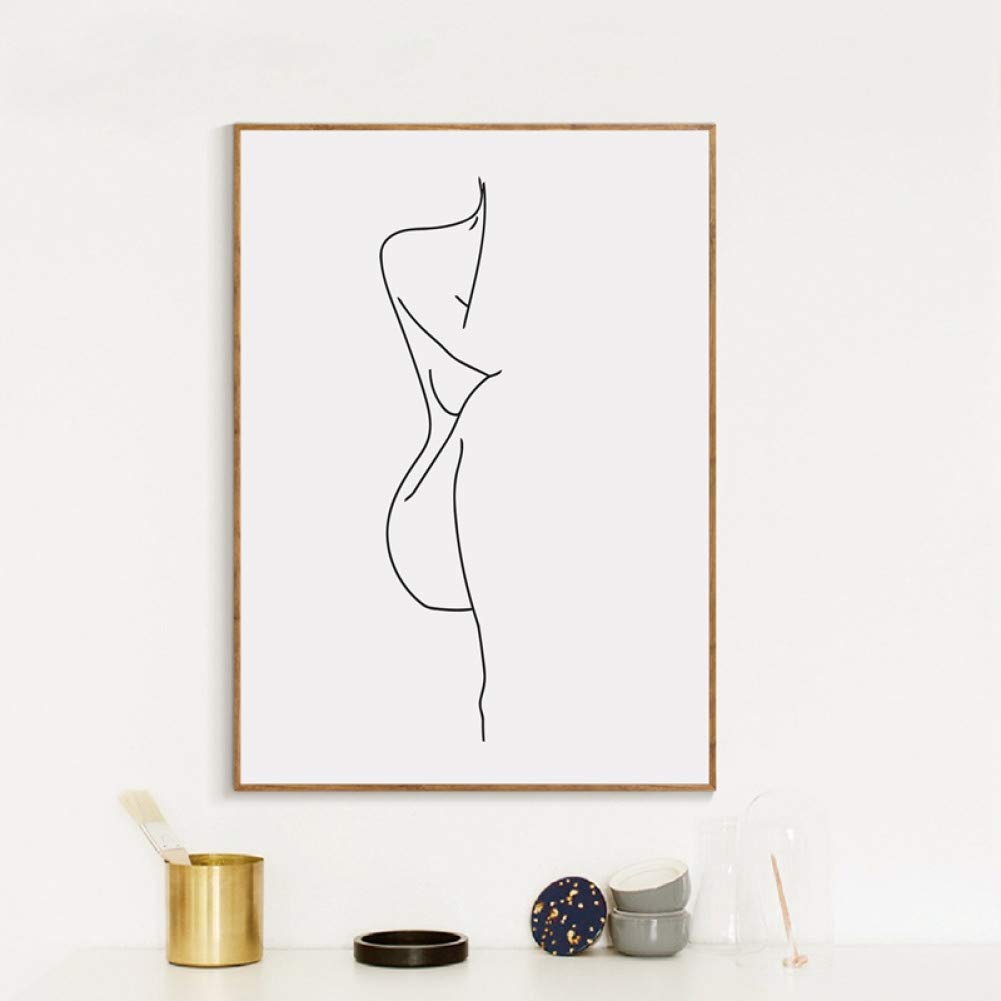 Lswmw Canvas Painting Female Body Line Drawing Art Canvas Painting Black White Picture Minimalist Art Poster Woman Figure Prints Home Wall Decor 40x60cm