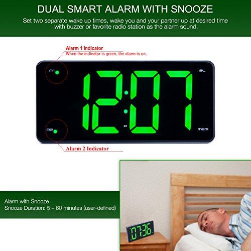 GPL/ Ultra Large Display Alarm Clock Radio, Large Number Clock, LED Digital  Clock with 9 5
