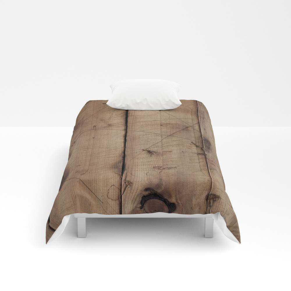 Society6 Comforter, Size Twin XL: 68'' x 92'', Burnt Woodgrain by rookzer0