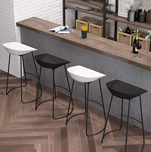 YLCJ Scandinavian Style Nordic Iron bar stools Home Chair Leisure Kitchen CAF R ception Reception High Stool (seat Height: 75 cm) for a Pub Cafà (White Color)