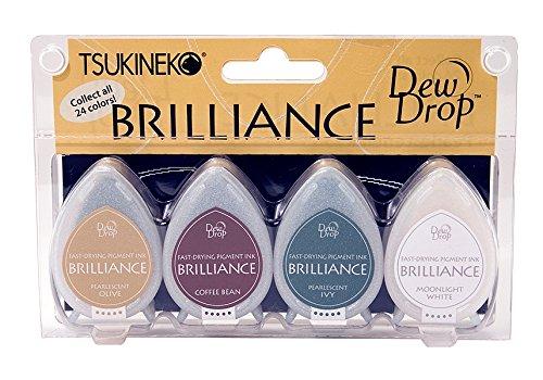 Tsukineko 4-Pack Brilliance Dew Drop Inkpads, (Dew Drops Scrapbooking)