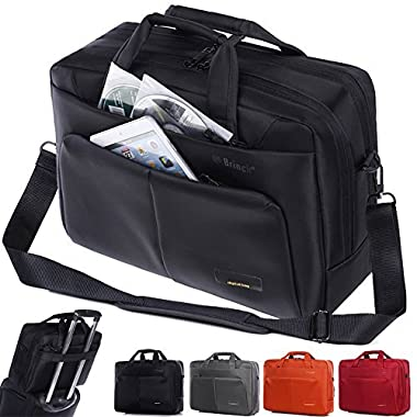 Laptop Bag ,BRINCH(TM) 15.6 inch Nylon Waterproof Roomy Stylish Laptop Shoulder Messenger Bag Handle Bag Tablet Briefcase For 15-15.6 Inch Laptop/Tablet/Macbook/Notebook,Black