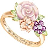 erDouckan Charming Attractive Rings for Women & Inspirational Letter Flower Rhinestone Inlaid Ring Valentine Day…