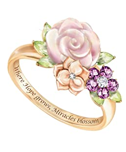 erDouckan Charming Attractive Rings for Women & Inspirational Letter Flower Rhinestone Inlaid Ring Valentine Day, Delicate Gift for Friends Family (Golden US 7)