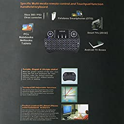 AOKVIE Mini 2.4Ghz Backlit Wireless Touchpad Keyboard With Mouse For Pc