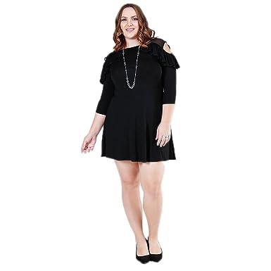 Verona Couture Plus Size Black Dress Women Cold Shoulder Dress