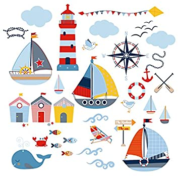 Sail Away Nursery/Boys Room Decorative Peel U0026 Stick Wall Art Sticker Decals