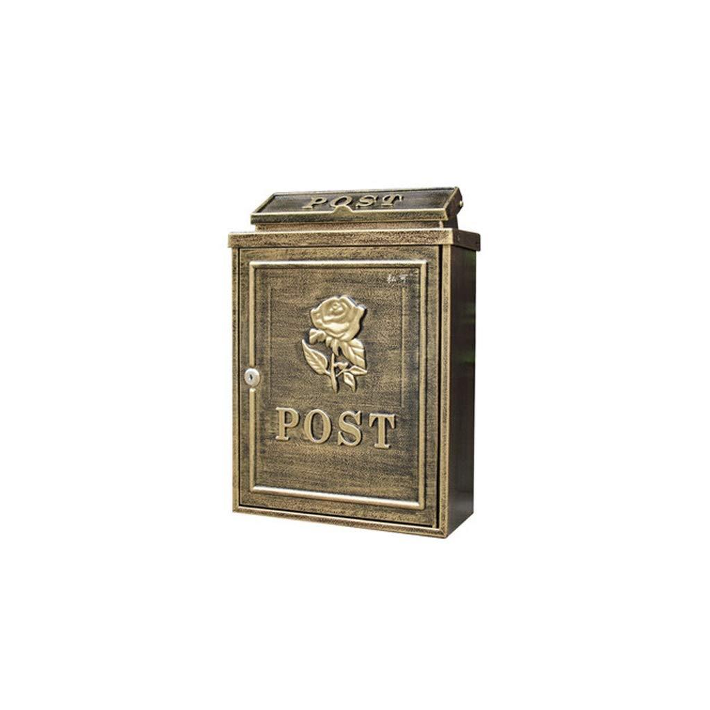 YQCS●LS ヨーロッパの古典的な別荘メールボックス、メールボックスのレターボックスアンティークメタリック、 - ビンテージ手紙メールポストボックス   B07TJDS6MV