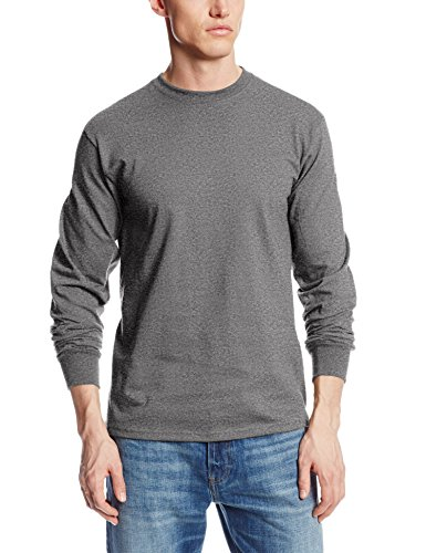 MJ Soffe Men's Long-Sleeve Cotton T-Shirt, Charcoal Heather, X-Large ()