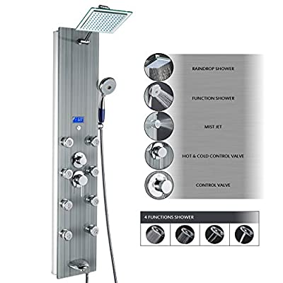 """AKDY 51"""" Tempered Glass Multi-Function Massage Jet Rainfall Style 4 Setting Handheld Shower Head 8 Multi-functional Nozzles LED Temperature Display Bath System Shower Panel Tower from AKDY"""