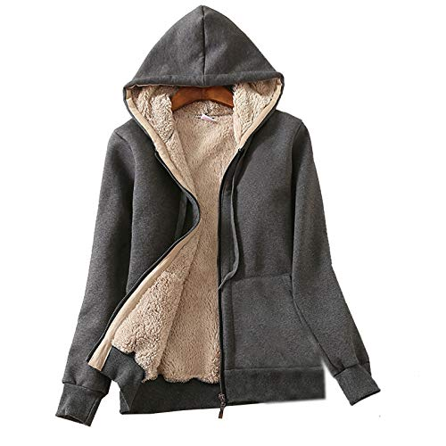 Flygo Women's Classic Casual Thick Warm Full Zip Sherpa Lined Hooded Sweatshirt Jacket (Small, Dark Grey)