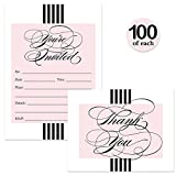 All Occasion Invites ( 100 ) & Matched Thank You Notes ( 100 ) Set with Envelopes Classic Pink & Black Stripe Fill-in Invites & Folded Thank You Cards Best Value Large Event Pack Wedding Grad Party