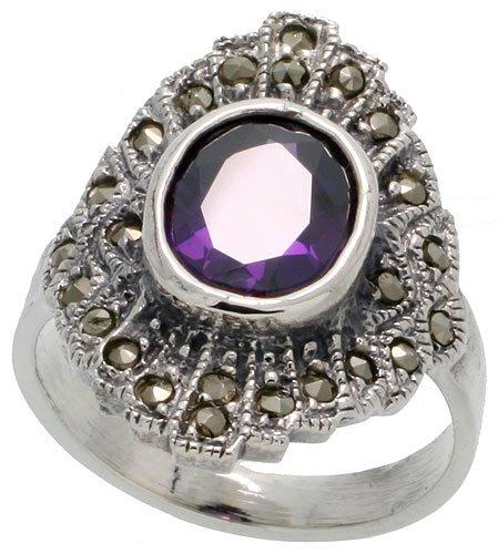 Sterling Silver Marcasite Ring, w/ Oval Cut Amethyst CZ, 13/16