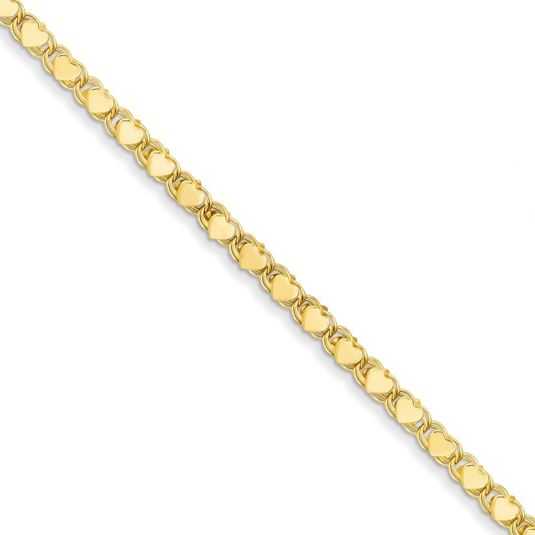 ICE CARATS 14k Yellow Gold Double Sided Heart Anklet Ankle Beach Chain Bracelet Fine Jewelry Gift Set For Women Heart