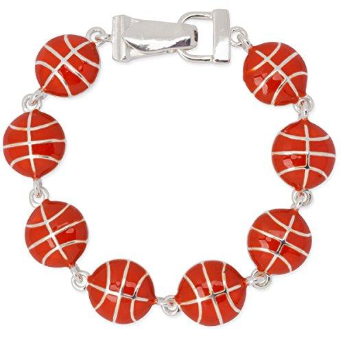 Basketball Orange Enamel Polished Silver Tone Sport Bracelet Magnetic (Silver Basketball Bracelet)