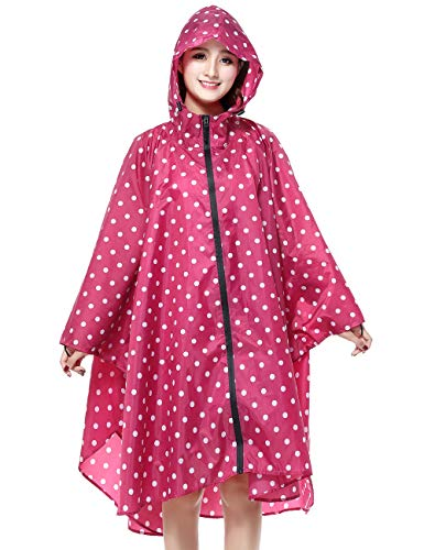 (Unisex Rain Ponchos Waterproof for Adults Rain Coat Jacket Windbreak Rainproof Jacket Zip Up for Ladies Womens Raincoat Outdoor with Zipper Hooded Bike Rainwear Polka Dot Pink)