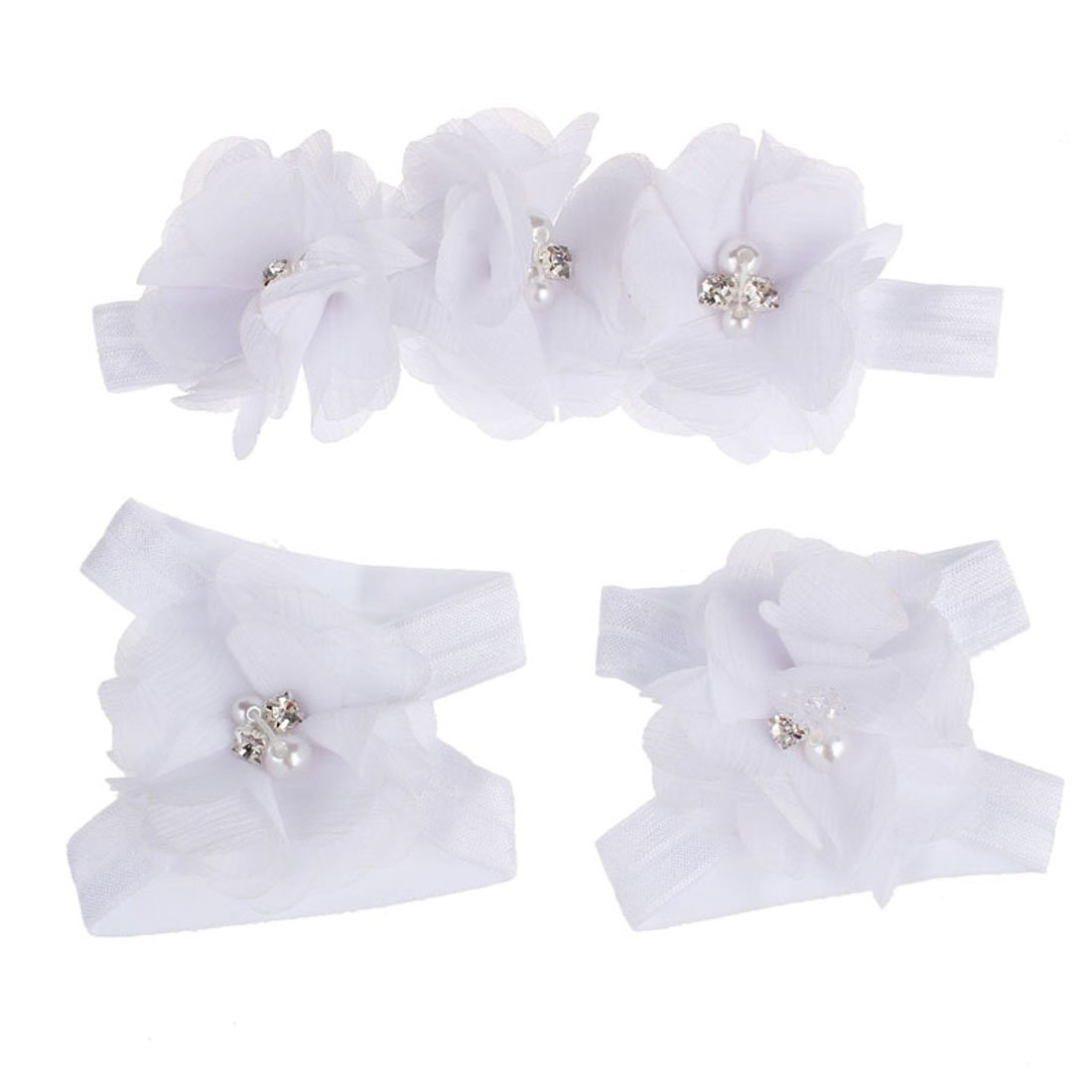Coromose Colorful Foot Flower Barefoot Sandals + Headband Set for Baby (White)