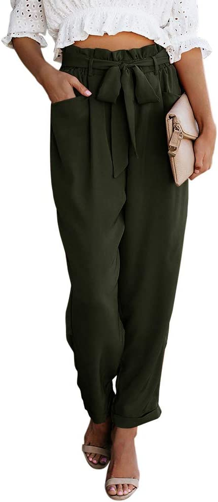 Valphsio Womens Cropped Paper Bag Pants High Waist Harem Loose Long Trousers with Belt