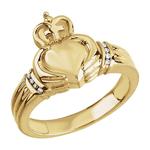 14k Yellow Gold .05 CTW Ladies Claddagh Ring - Size (Claddagh Duo)