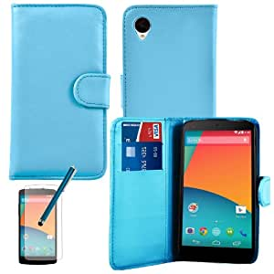 Blue Leather Flip Wallet Book Cards Case Cover With Screen Protector Guard And Stylus Pen for LG Nexus 5