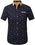 SSLR Men's Printed Button Down Casual Short Sleeve Cotton Shirts (Medium, Black)