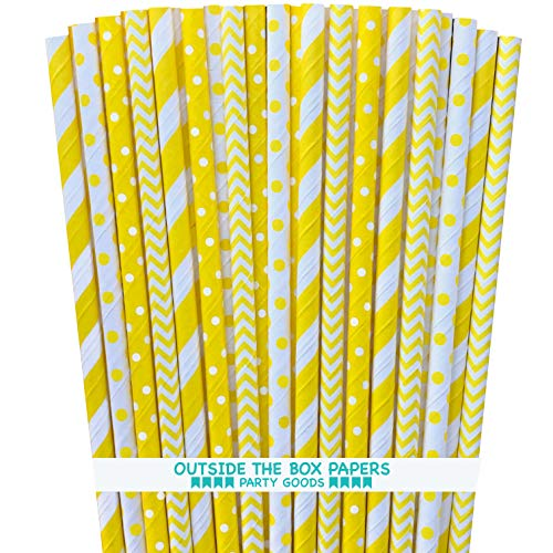 - Yellow and White Paper Straws - Stripe Chevron Polka Dot - 7.75 Inches - Pack of 100 - Outside the Box Papers Brand