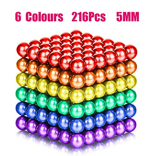 (6 Colors 216 Pcs 5MM Magnets DIY Toys Magnetic Fidget Blocks Building Blocks for Development of Intelligence Learning and Stress Relief Gift for Adults or Kids)