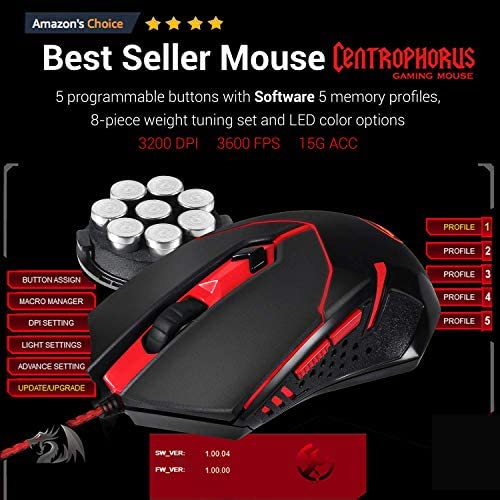 Redragon S101 Wired Gaming Keyboard and Mouse Combo RGB Backlit Gaming Keyboard with Multimedia Keys Wrist Rest and Red Backlit Gaming Mouse 3200 DPI for Windows PC Gamers (Black) 51yGSTGjqiL