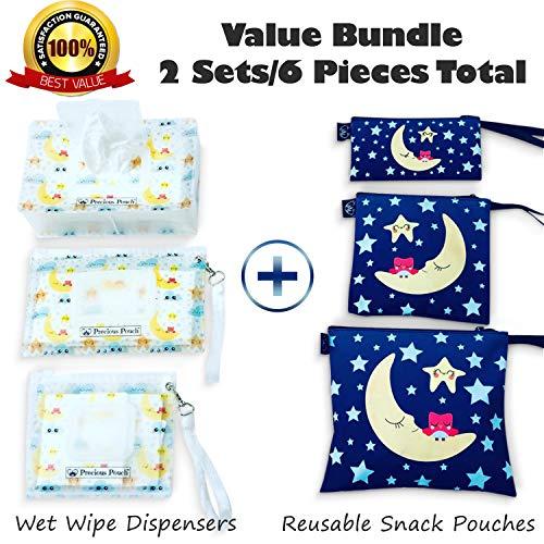 Value Bundle - Precious Pouch Best Seller Refillable Wet Wipe Dispenser Set + Multipurposes Baby Snack Bags/Diaper Organizer. (Matching Design/6 Pieces Total/$38.99 Value!)