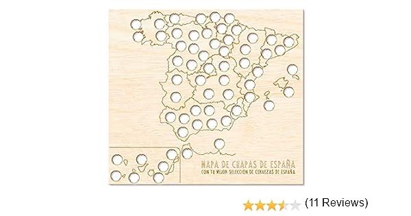 Regalo Original Mapa de Madera de chapas de Cerveza de España para ...