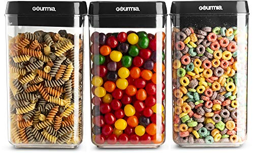(Gourmia GEC9785 Airtight Food Storage Containers, 3 Pack, 2.3 Liter - Stackable, Easy Lock Clear Organizers with Airtight Lids - Preserves and Keeps Dry Goods Fresh and Dry - Space Saving, BPA Free)