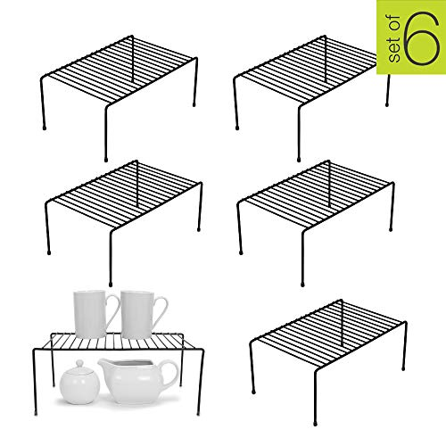 Smart Design Kitchen Storage Shelf Rack w/Plastic Feet – Medium – Steel Metal – Rust Resistant Finish – Cups, Dishes, Cabinet & Pantry Organization – Kitchen (13.25 x 6 Inch) [Black] – Set of 6