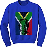 Expression Tees Crew Nelson Mandela South Africa Flag Adult Small Royal Blue