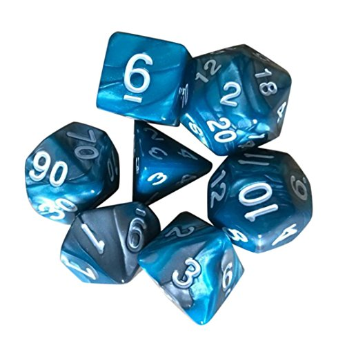 (Sikye Resin Dice for TRPG Game Dungeons & Dragons Polyhedral D4-D20 Multi Sided Dice Toy 7pcs/Set (D))