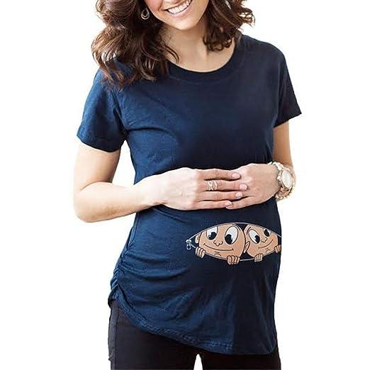 Lenfesh Frauen Elegante Schwangerschaft Schulterfrei Tops Pflege Umstandsmode Damen Casual Top Stillshirt Rundhalsausschnitt Mama Schwangerschaft Kleidung