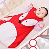 Baby Super Soft Microfiber Cotton Lined Kids Boys Sleep And Play Blanket Sleeper Sleeping Bag Newborn Autumn Winter Thickening Children Anti-kicked Pajamas Spring Summer Quilt Child Fox Cartoon Patter
